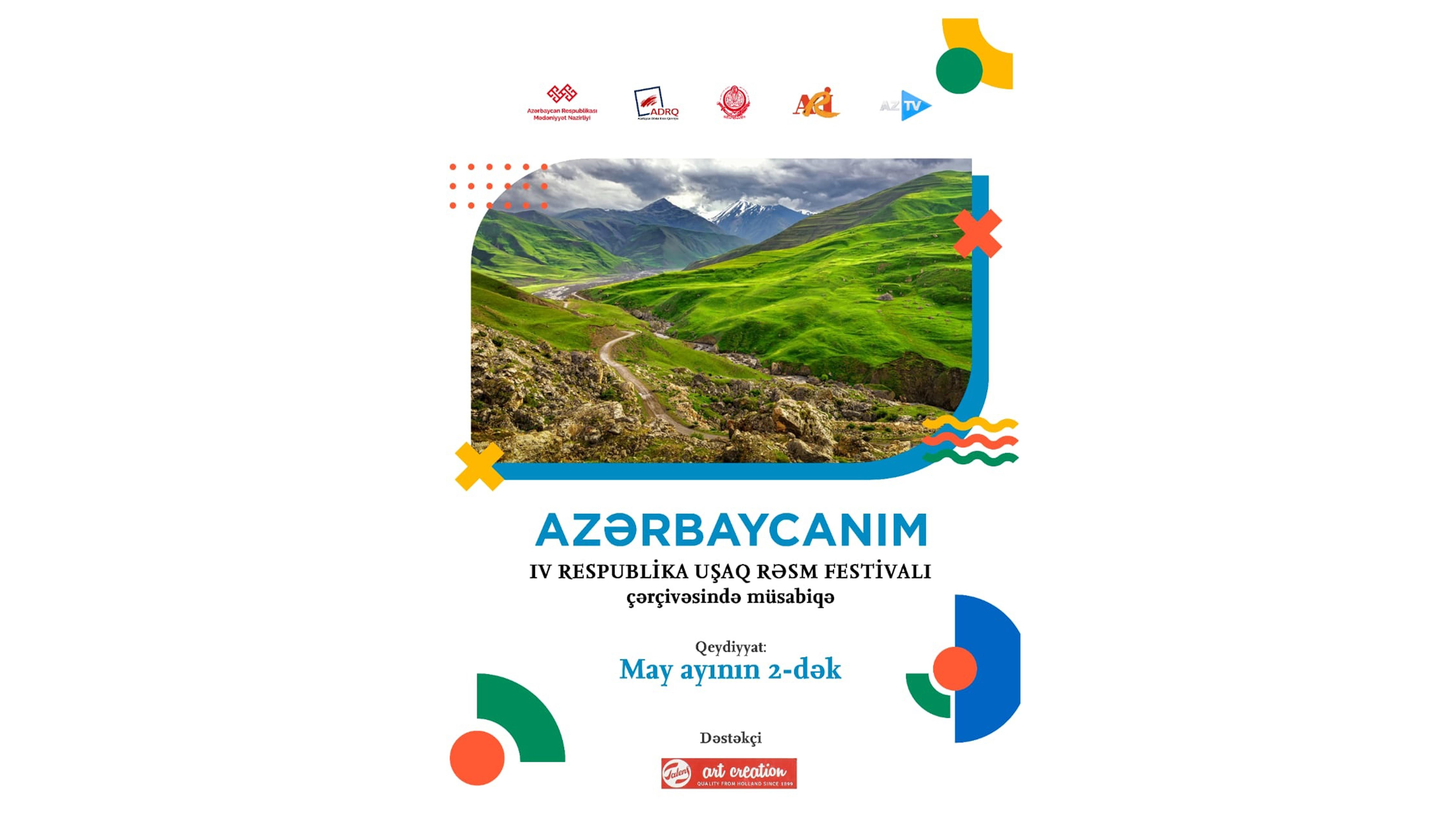 """""""AZƏRBAYCANIM"""" IV RESPUBLİKA UŞAQ RƏSM FESTİVALI çərçivəsində müsabiqə elan olunur."""