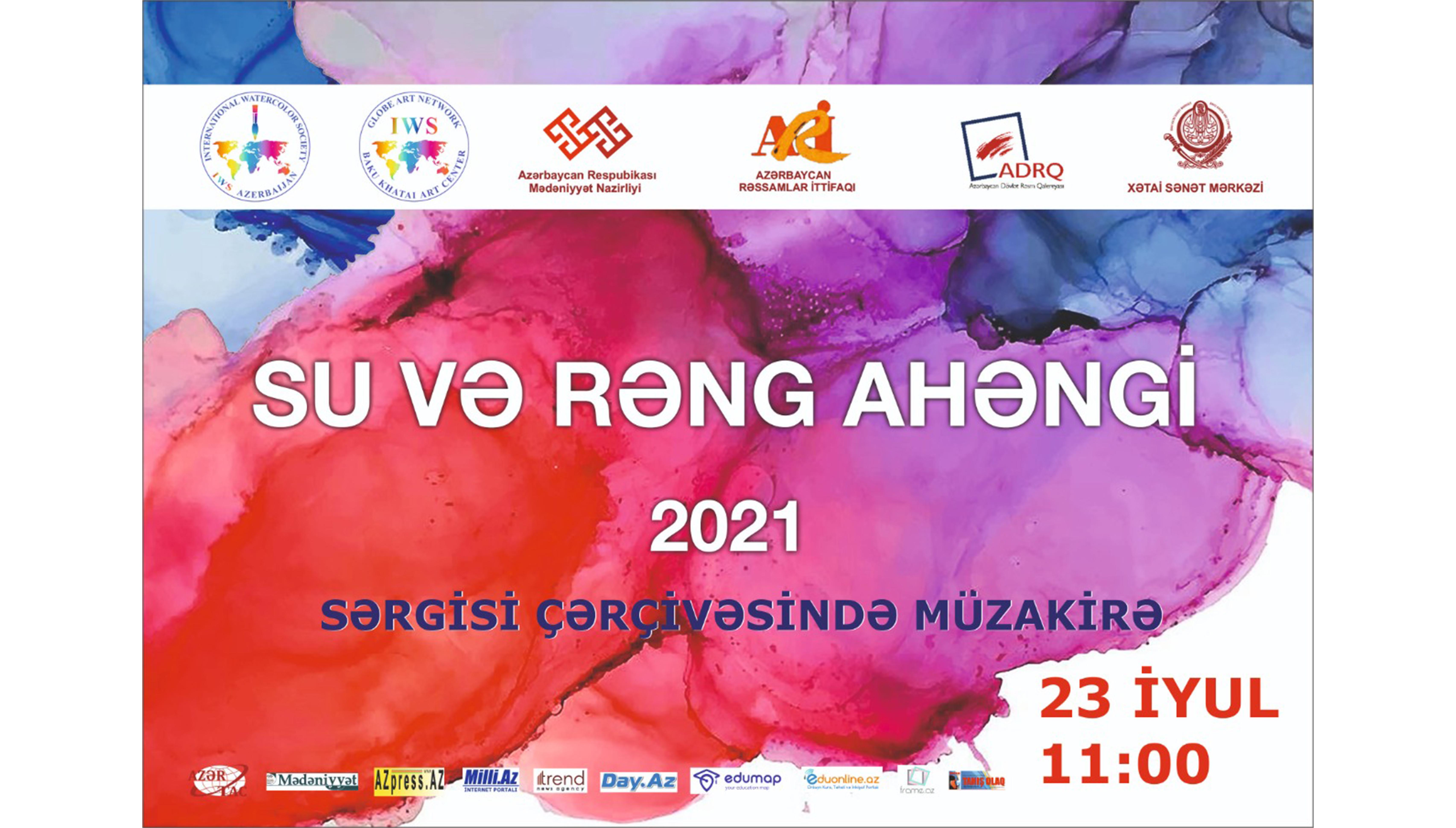 """""""Su və rəng ahəngi-2021"""" akvarel sərgisi çərçivəsində müzakirə keçiriləcək."""
