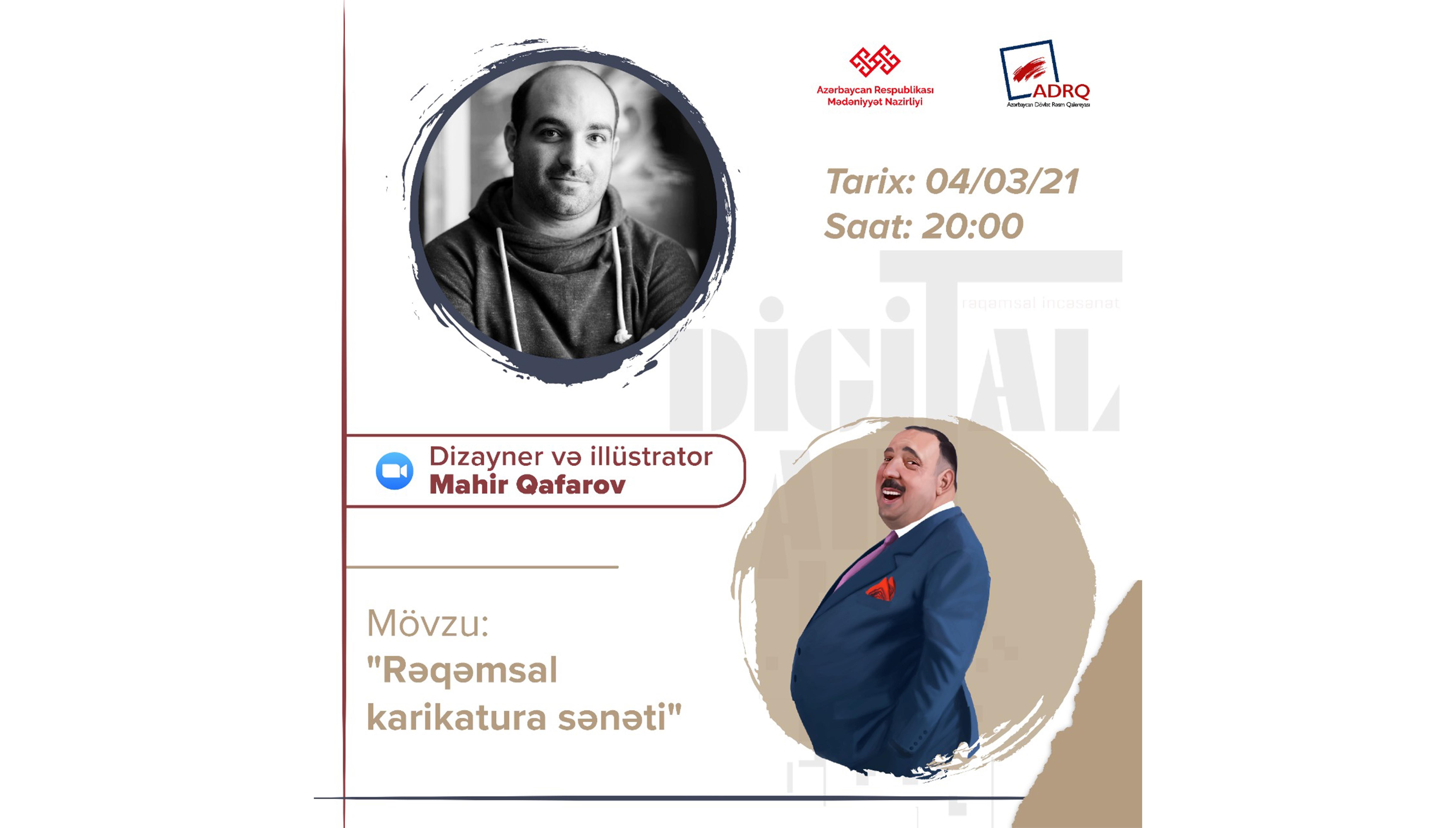 """""""Digitalart-lab"""" layihəsi çərçivəsində illüstrator Mahir Qafarovun """"Rəqəmsal karikatura sənəti"""" mövzusunda ustad dərsi baş tutacaq."""
