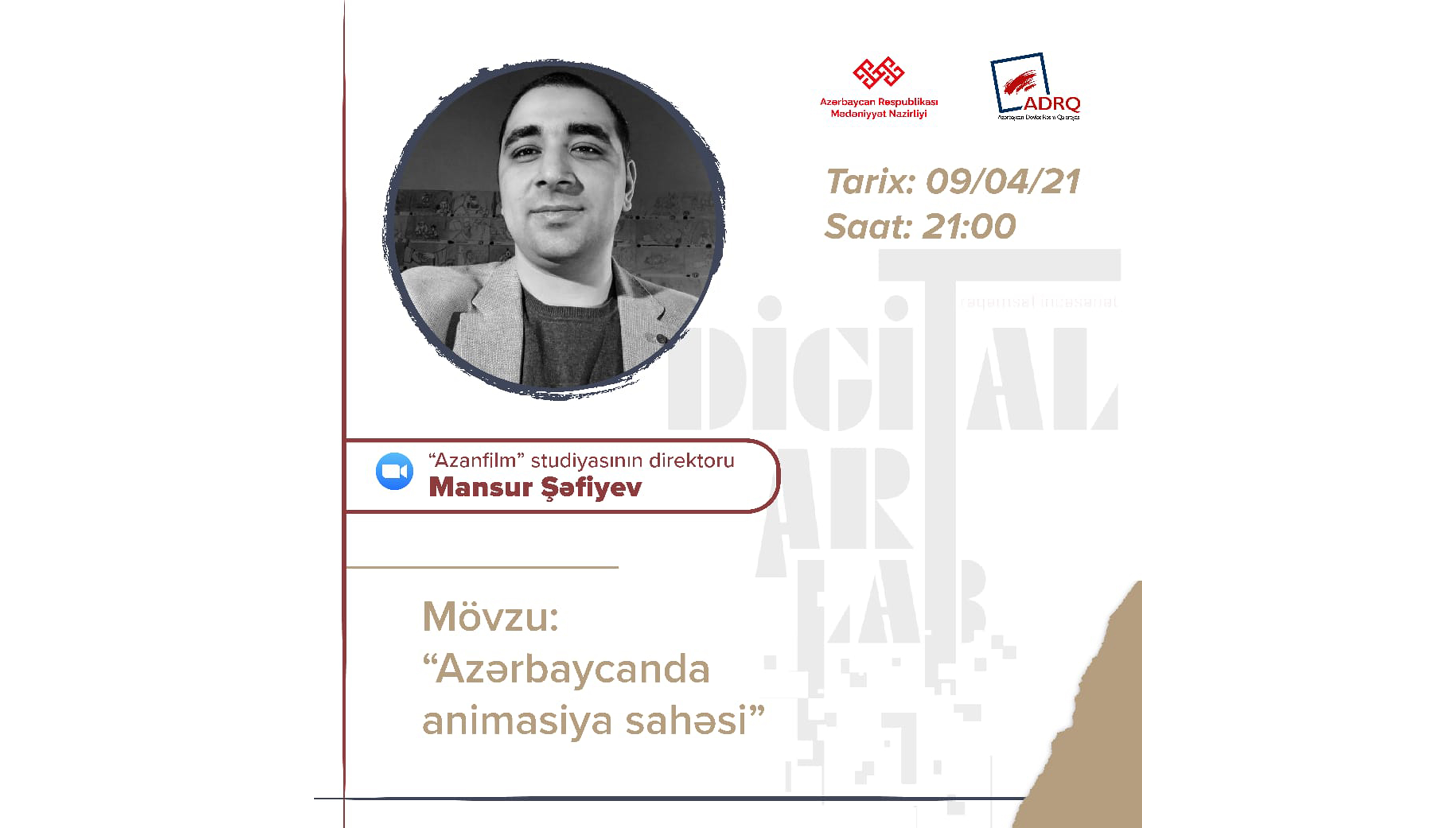 """""""Digitalart-lab"""" layihəsi çərçivəsində növbəti görüş Azərbaycanda animasiya sənətinə həsr olunacaq"""