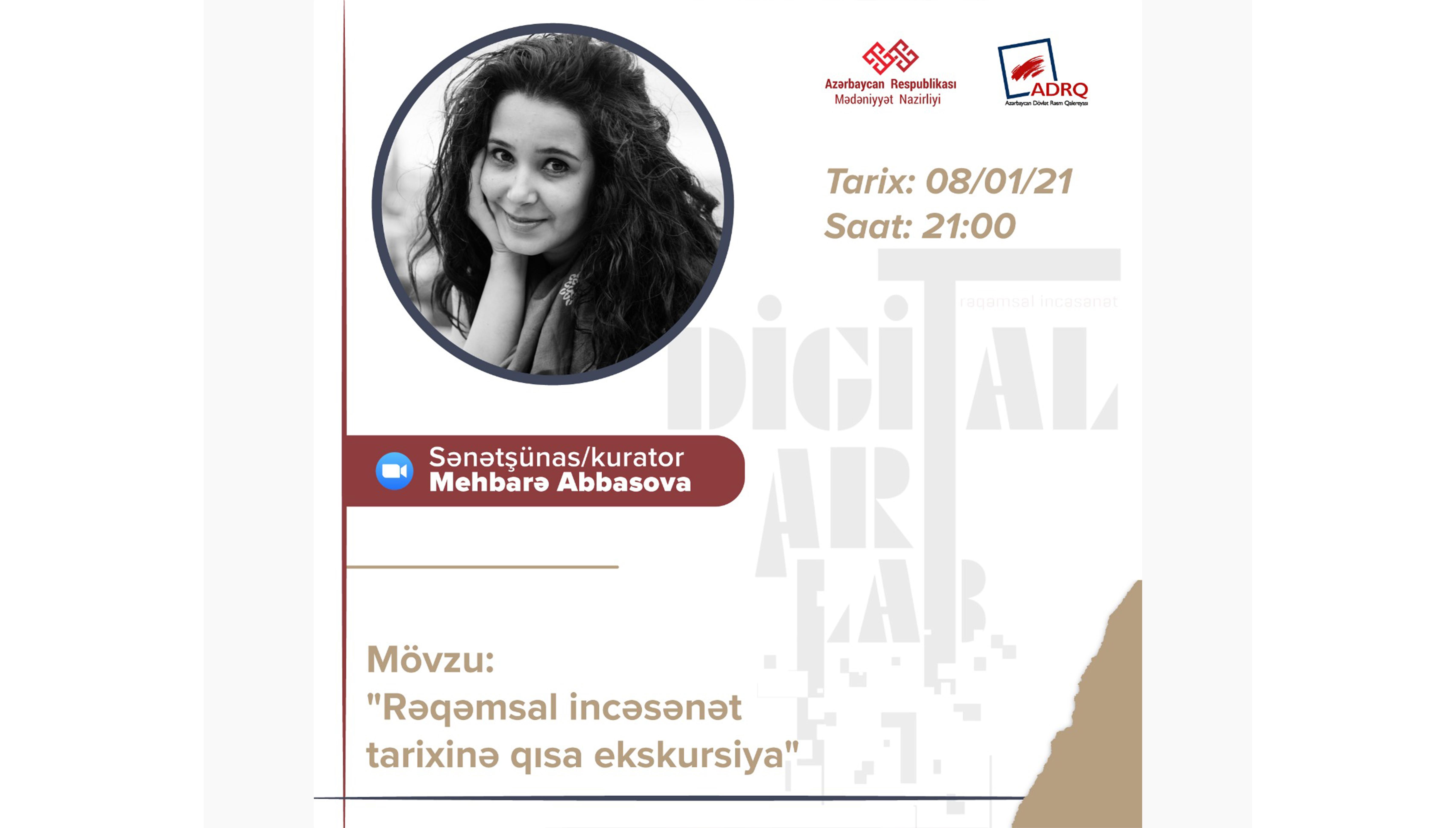 """Sənətşünas Mehbarə Abbasova """"Digitalart-lab"""" layihəsinin qonağı olacaq."""