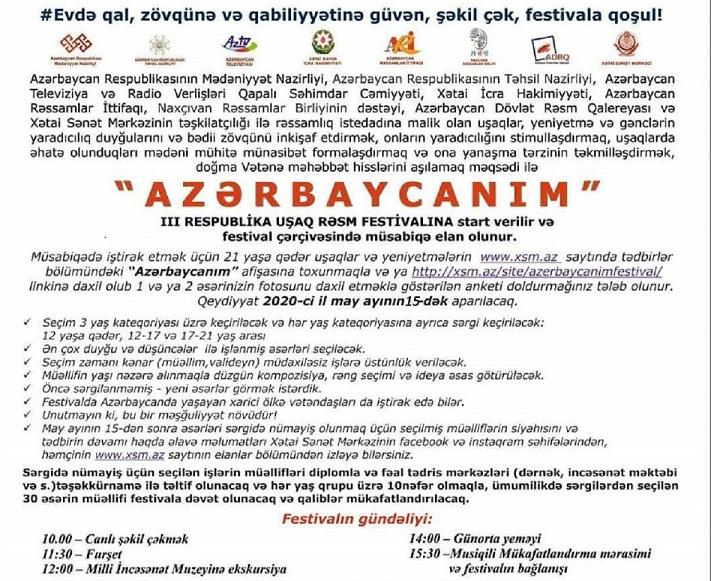 """""""AZƏRBAYCANIM"""" III Respublika Uşaq Rəsm Festivalı çərçivəsində elan olunmuş müsabiqənin nəticələri açıqlanıb."""